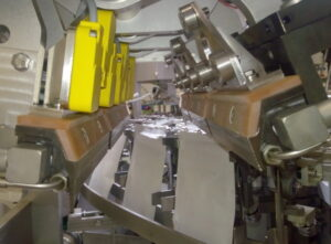 Distance sensors are installed on a triplex HDG pouch packaging machine
